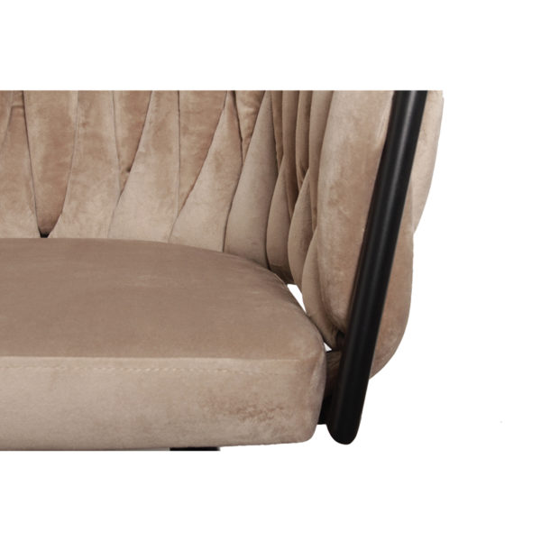 Chaise Wave sable 5 - Lot de 2 Chaises velours beige Wave