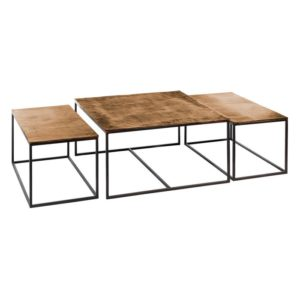 LOT de 3 Tables basses or vieilli
