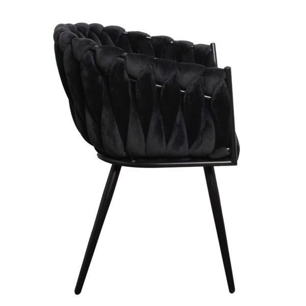 chaise Wave noir 1 - Lot de 2 Chaises Velours noir Wave