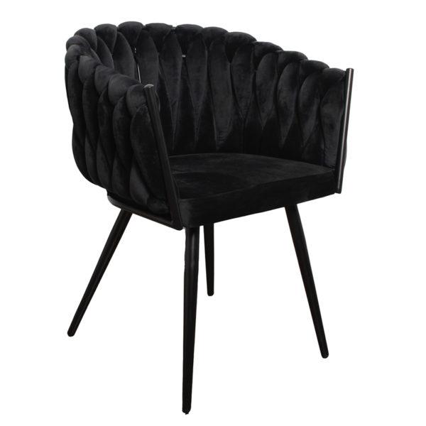 chaise Wave noir 10 - Lot de 2 Chaises Velours noir Wave