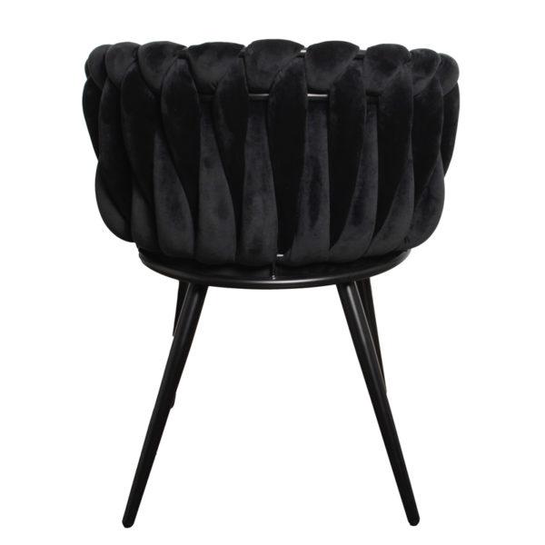 chaise Wave noir 2 - Lot de 2 Chaises Velours noir Wave