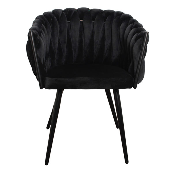 chaise Wave noir 4 - Lot de 2 Chaises Velours noir Wave