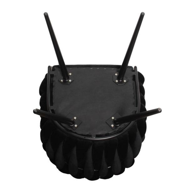 chaise Wave noir 5 - Lot de 2 Chaises Velours noir Wave