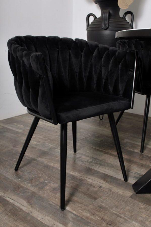 chaise Wave noir 7 - Lot de 2 Chaises Velours noir Wave