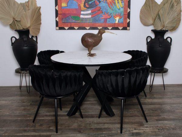 chaise Wave noir 8 - Lot de 2 Chaises Velours noir Wave