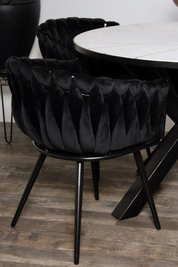 chaise Wave noir 9 - Lot de 2 Chaises Velours noir Wave