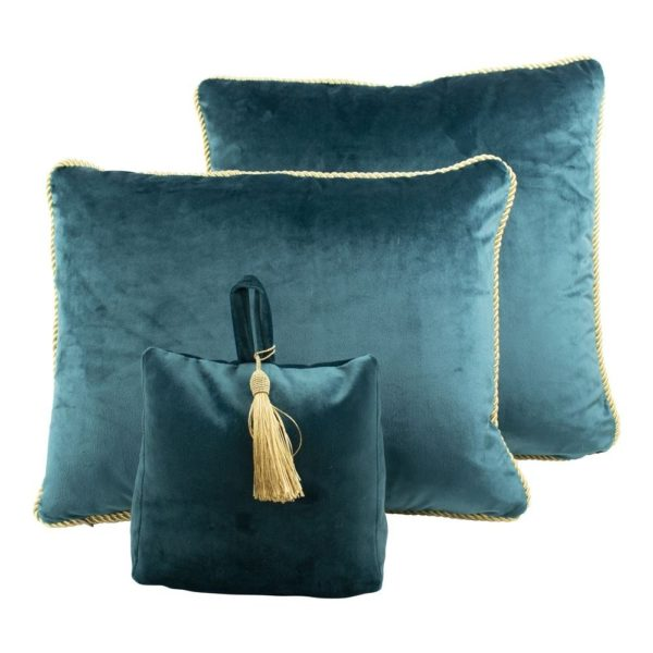 dcfgdspt 5 - Cale-porte Velours Bleu canard