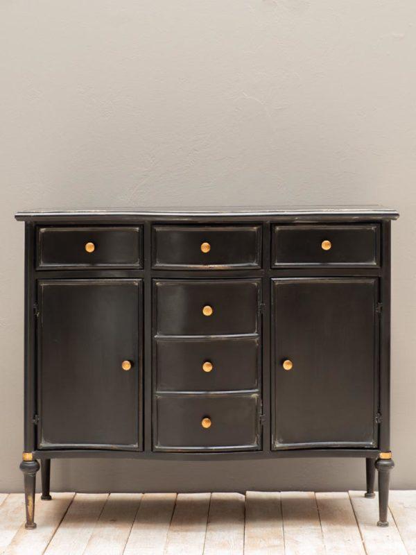Commode 3 tiroirs et 3 portes Orleans - Commode en métal noir Orléans