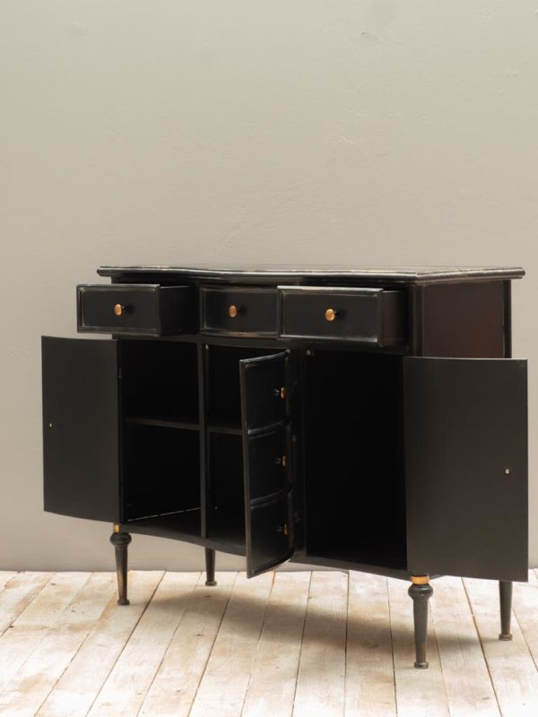Commode 3 tiroirs et 3 portes Orleans D - Commode en métal noir Orléans