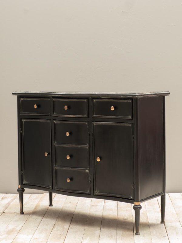 Commode 3 tiroirs et 3 portes Orleans E - Commode en métal noir Orléans
