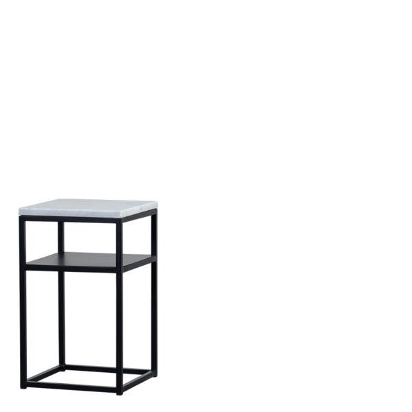 Table de chevet marbre blanc sylvester - Table de chevet Marbre Blanc Sylvester
