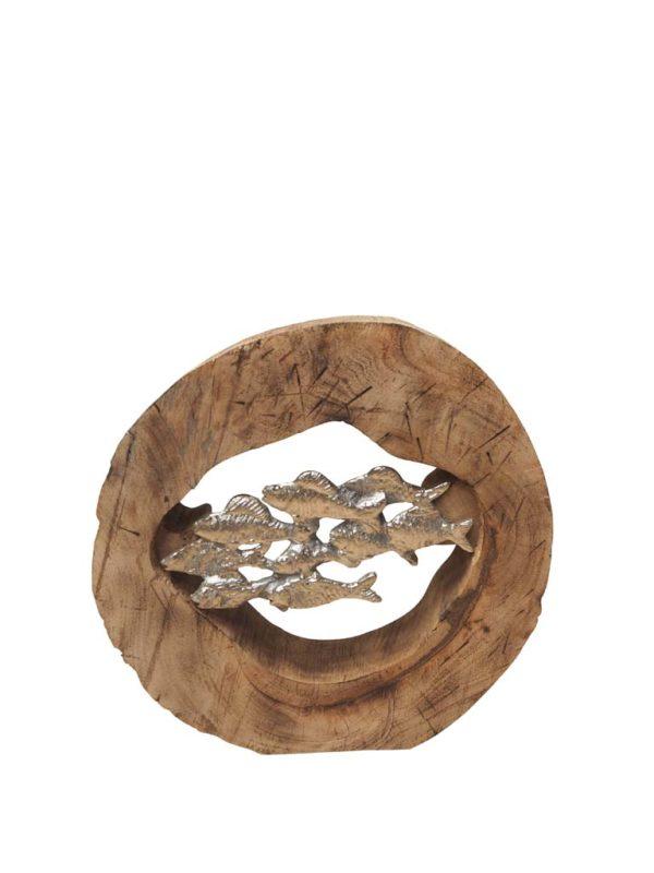 Deco rondin banc de poissons - Décoration rondin et banc de poissons