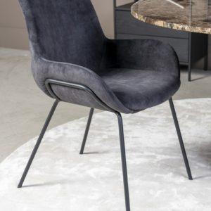 Chaise en velours gris Livingston - Nouveaux produits